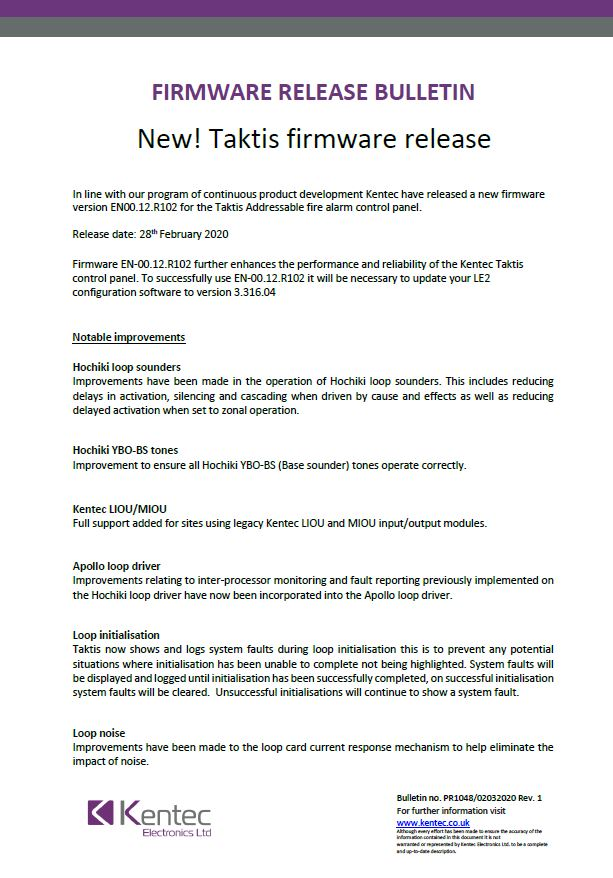 Taktis Firmware Release