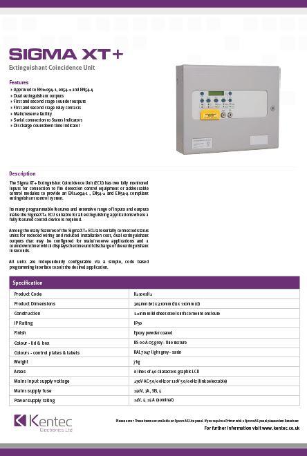 DS55 Sigma XT+ Extinguishant Coincidence Unit Datasheet