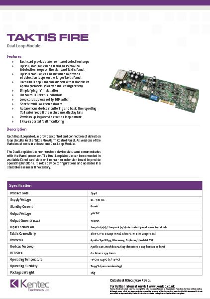 DS101 Taktis Dual Loop Module Datasheet