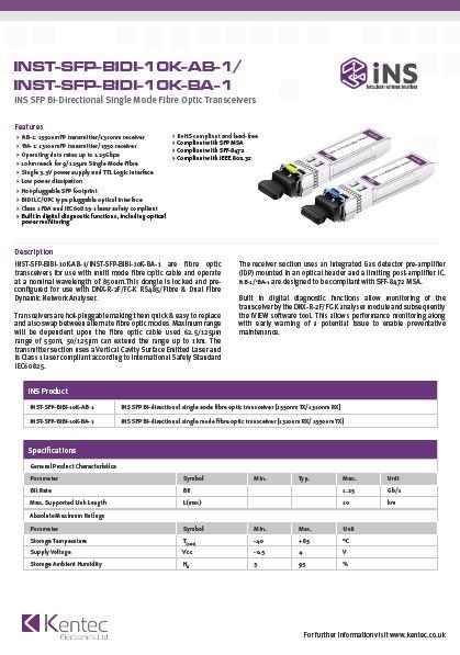 DS134 INST-SFP-BiDi-10K