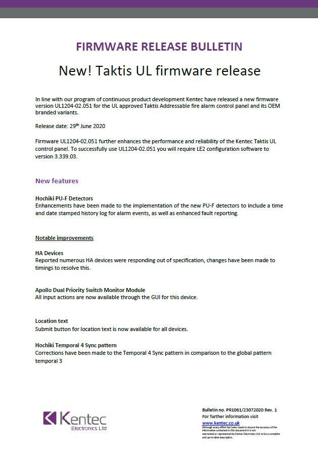 Taktis UL Firmware Update