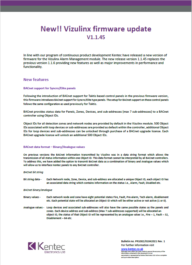 Product Bulletin – PR1082
